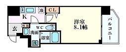 Osaka Metro堺筋線 堺筋本町駅 徒歩4分の賃貸マンション 3階1Kの間取り