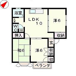 滋賀県近江八幡市丸の内町の賃貸アパートの間取り