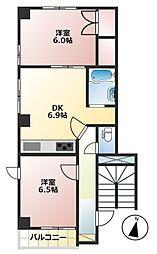 報徳スカイマンション[2階]の間取り