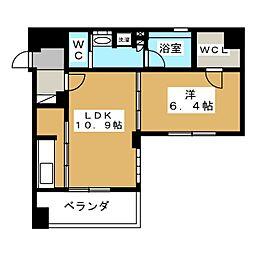 リーガル京都二条城東[2階]の間取り