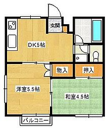 ベルシオン山岡B棟[2階]の間取り