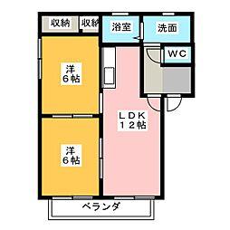 ペアハウスA・B[2階]の間取り