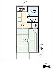 上飯田南町ハイツ[2階]の間取り