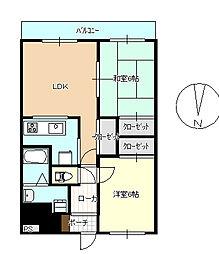 クイーンズタウン1番館[2階]の間取り