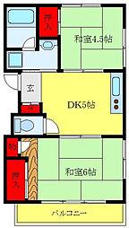 メゾン・ド・中川 2階2DKの間取り