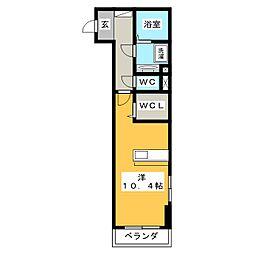 T ブリッジアベニュー 3階ワンルームの間取り