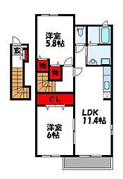 メゾンドサンB[2階]の間取り
