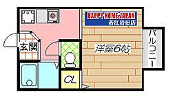 若江岩田駅徒歩4分 クレール・タカシマ[203号室]の間取り
