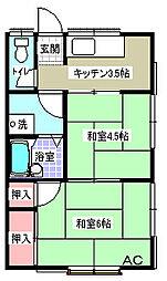神奈川県横須賀市上町4丁目の賃貸アパートの間取り