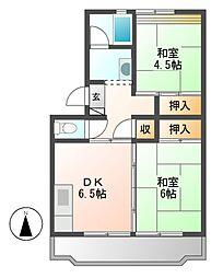 中駒九番団地5号棟[3階]の間取り