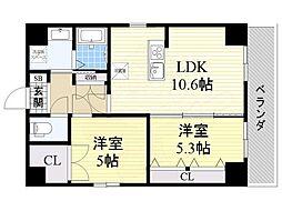 南海線 堺駅 徒歩8分の賃貸マンション 8階2LDKの間取り