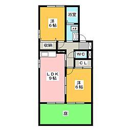 ミレニーHIRO B棟[1階]の間取り