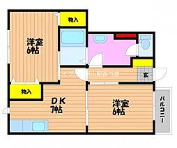 岡山県岡山市北区今2丁目の賃貸アパートの間取り