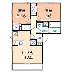 コンフォール湘南B 1階2LDKの間取り