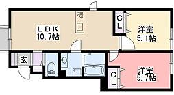 チェリーハウスIIA棟・B棟[A103号室]の間取り
