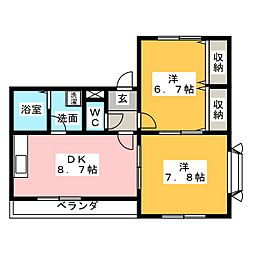 ソレイユ藤田[2階]の間取り