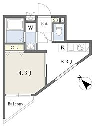 ハイホーム 1階1Kの間取り