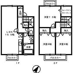 広島県広島市東区中山新町3丁目の賃貸アパートの間取り
