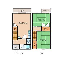 [テラスハウス] 奈良県奈良市西大寺国見町2丁目 の賃貸【/】の間取り