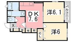 JR播但線 新野駅 徒歩36分の賃貸アパート 1階2DKの間取り
