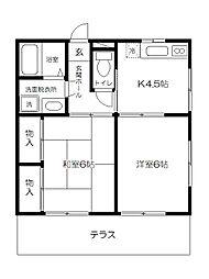 東京都府中市美好町3丁目の賃貸アパートの間取り