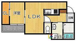 福岡市地下鉄七隈線 六本松駅 徒歩5分の賃貸アパート 2階1LDKの間取り