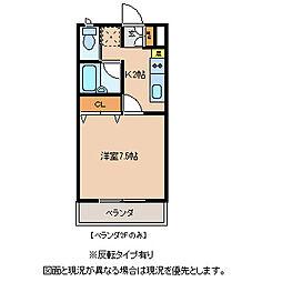 JR中央本線 下諏訪駅 徒歩22分の賃貸アパート 2階1Kの間取り