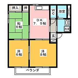 クールヴィルヌーブA棟[2階]の間取り