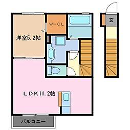 三重県鈴鹿市西条8丁目の賃貸アパートの間取り