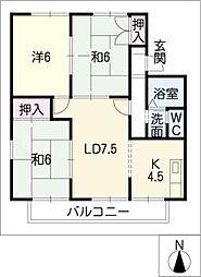 コーポみかどA・B[1階]の間取り