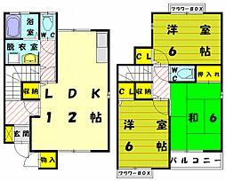 [テラスハウス] 福岡県福津市福間南1丁目 の賃貸【/】の間取り