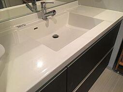 大きな鏡が魅力の洗面室。収納もございます