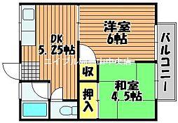 岡アパート 北・南棟[2階]の間取り