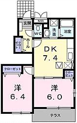 埼玉県吉川市大字平沼の賃貸アパートの間取り