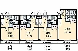 JRBハイツふしの[A202号室]の間取り