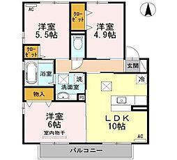 宮崎県宮崎市大工3丁目の賃貸アパートの間取り