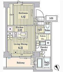 東京メトロ千代田線 明治神宮前駅 徒歩6分の賃貸マンション 3階1LDKの間取り