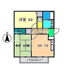 鍋島コーポII[2階]の間取り