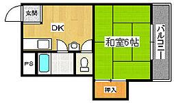 コスモ新北野[5階]の間取り