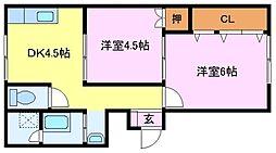 大阪府堺市西区浜寺諏訪森町西4丁の賃貸マンションの間取り