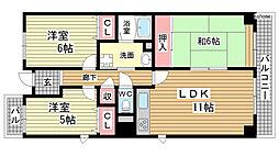 六甲パークヒル[5階]の間取り