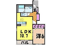 愛媛県松山市北吉田町の賃貸アパートの間取り