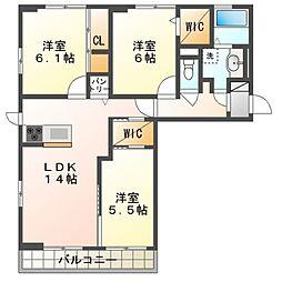 JR内房線 袖ヶ浦駅 バス8分 南蔵波下車 徒歩3分の賃貸アパート 2階3LDKの間取り
