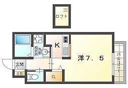 和 弐番館 2階1Kの間取り