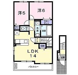 JR山陽本線 西明石駅 徒歩22分の賃貸アパート 2階2LDKの間取り
