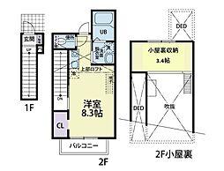 CAT COCOA II A(キャット ココア ツー エー) 2階ワンルームの間取り