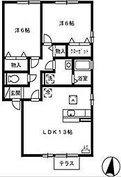 ソレイユ千田 B棟[1階]の間取り