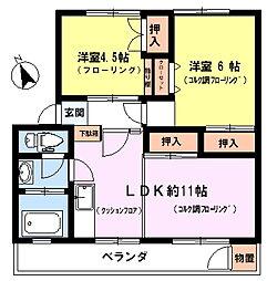 日野新坂下住宅[5階]の間取り