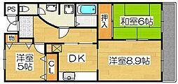サンクス第三ハイツ[2階]の間取り
