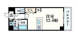 阪急神戸本線 西宮北口駅 徒歩8分の賃貸マンション 3階ワンルームの間取り